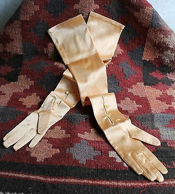 "Vintage Evening Opera Gloves Dents England Peach Stretch Satin 22"" Long 1950's"
