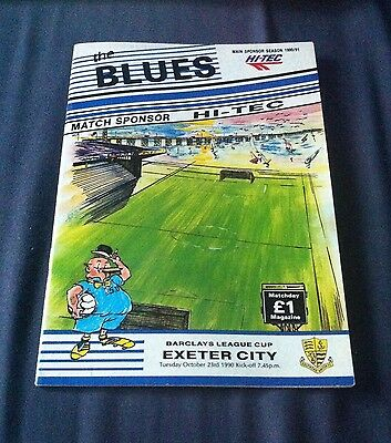 Southend United vs Exeter City 1990 - Football Programme