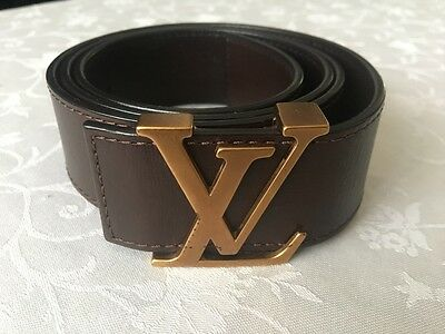 100% Authentic Louis Vuitton Men's Brown Leather Belt Size 95 M6812V
