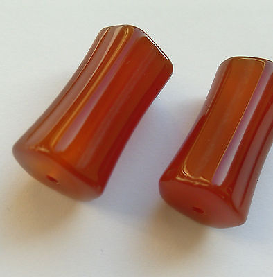 2 Fine Natural Colour Carved Carnelian Gemstone Beads. 25 mm Jewellery Making