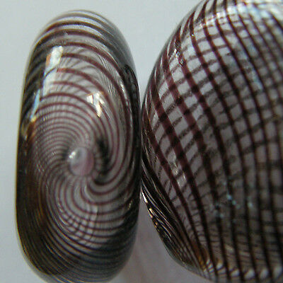 6 Hand Blown Art Glass Lampwork Flat Circular Beads, Brown Spiral. For Crafts