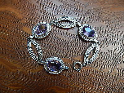 Vintage Scottish Celtic Natural Amethyst Settings Sterling Silver Bracelet