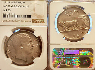 Albania 1926 5 FR, Rare Crown, Low Mintage, NGC 63, Sharp Detail/Luster