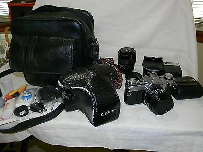 vintage Cannon AE-1 35mm camera - bundle