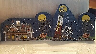 4 Pc Cats Meow Wooden Village Halloween 2000 Limited Ed.Tree Lighthouse Fish Mkt