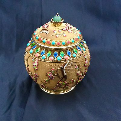 Antique Chinese gilded silver tea caddie turqouse corals jade & enamel from 1920