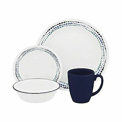 Corelle Livingware 16-Piece Dinnerware Set Ocean Blues Service for 4 New