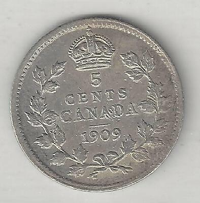 CANADA,  1909  POINTED LEAVES,  5 CENTS,  SILVER,  KM#13,  EXTRA FINE ( Note )