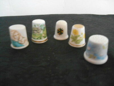 5 Porcelain Thimbles ~ 2 Flowers ~ 1 Design ~ 1 Cottage ~ 1 Figurine Thimbles