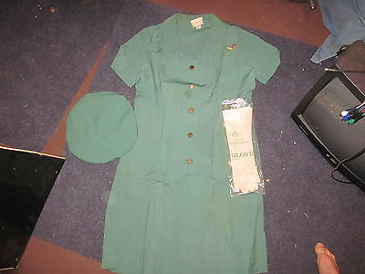 1960s or 70s Girl Scout Leader uniform, Beret,Pin and Gloves