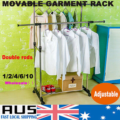 Double Rail Clothes Metal Rack Garment Display Wheels Rolling Hanger Dryer Stand