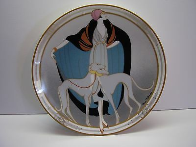 Art Deco Style in Motion Flapper With Greyhounds Collector Plate FREE SHIPPING