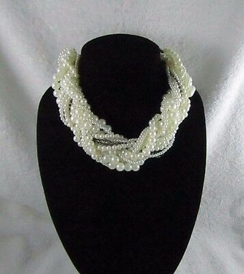 Vintage 1980's Twisted Multi Strand White Faux Pearl Statement Choker Necklace