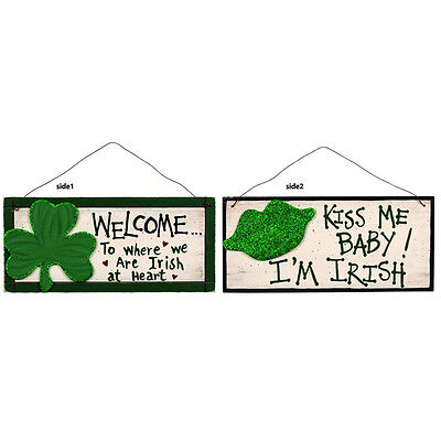 OWI Irish Decor - Welcome & Kiss Me Double Side Sign