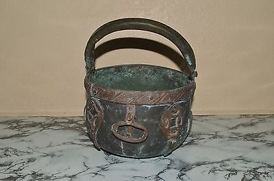 RARE Vintage HANGING CAULDRON KETTLE POT w/ Handles & Symbols (Witch ? Wicca ?)