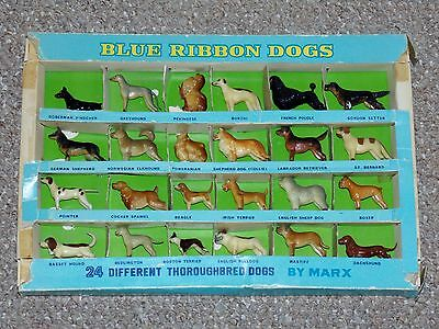1950s Marx Blue Ribbon Dogs Collection of 24 Thoroughbreds with Original Box