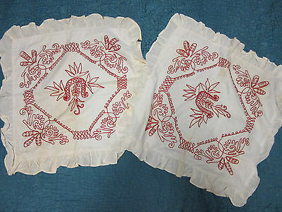 Vintage antique turkey red embroidery redwork 2 pillow cases set large square