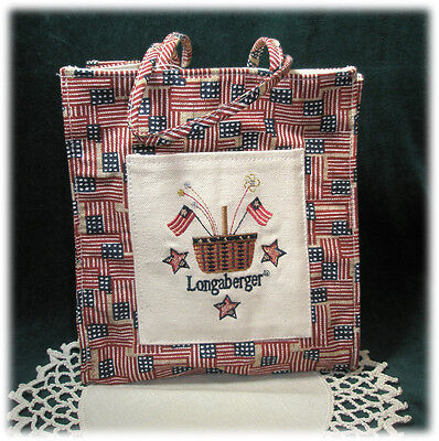 Longaberger Americana Flag Canvas Lunch Shopping Gift Tote Bag NWOT