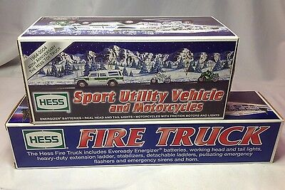 New HESS Anniver 64-04 Sport Utility Vehicle Motorcycles & 2000 Fire Truck Lot