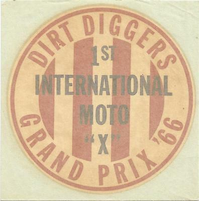 "Vintage - 1966 Dirt Diggers 1st International Moto ""X"" Grand Prix - Water Decal"