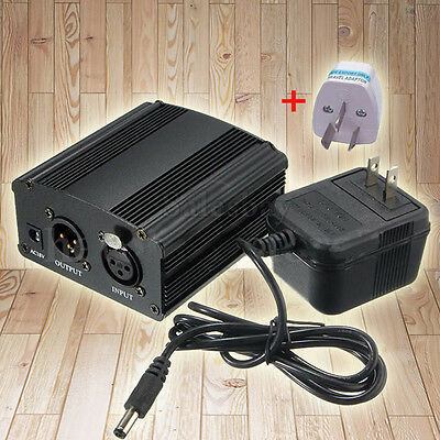 48V Phantom Power Supply for Condenser Microphone + AU Adapter 220V 1- Channel