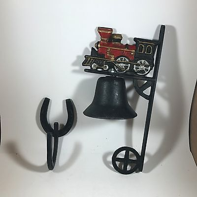 Cast Iron Steam Train Engine with Bell, Dinner Bell and Horseshoe Coat Hook