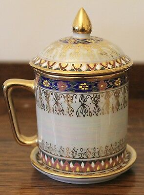 Stunning Chinese Tea Cup with Lid & Saucer - Cloisonne & Mother of Pearl - GC