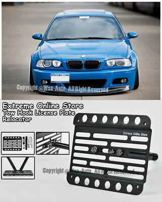 FOR 01-06 BMW E46 M3 Front Bumper Tow Hook Mount Adaptor License Plate  Bracket