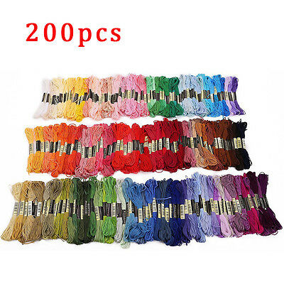 200 Mixed Colours CROSS STITCH Cotton EMBROIDERY THREAD Sewing Skeins Floss Kit