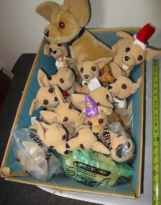 Huge Box Lot of 16 Vintage Advertising TACO BELL Chihuahua Plush Dogs