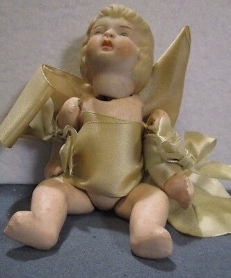 Antique Nippon Jointed Doll Bisque Head Composition Body Wrapped Silk Ribbon
