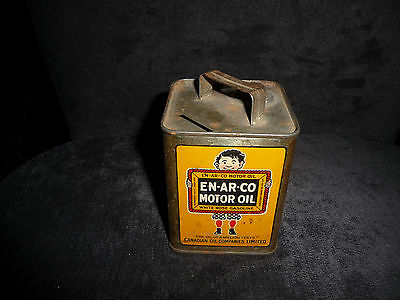 Rare Vintage En-Ar-Co Motor Oil Tin Coin Bank White Rose Gasoline With Handle !!