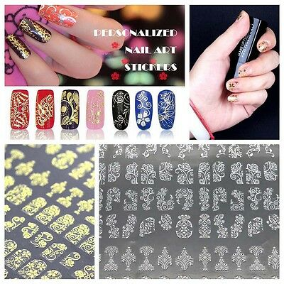 108 3D Silver Gold Flower Nail Art Stickers Decals Stamping DIY Decoration Tool