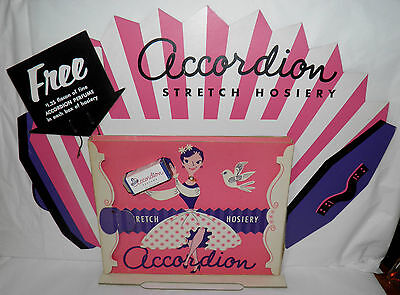 Vintage 1950s ACCORDION HOSIERY & PERFUME Advert STORE DISPLAY Sign w/ Products