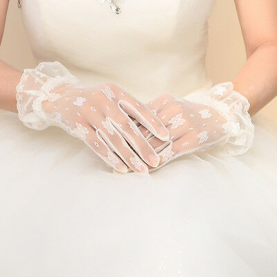 White Ivory Short Lace Bridal Gloves Wedding Accessories Party