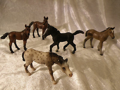 Schleich Farm World Colts Horses Lot Of 5 Nice Condition See Pictures