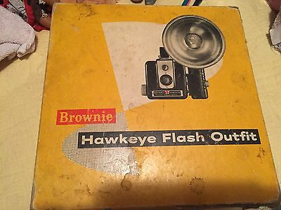 Vintage Brownie Hawkeye Kodak Box Camera Flash Model With Original Box