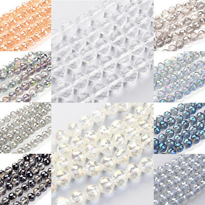 "8.6"" Strd Gorgeous Faceted Glass Beads Round Loose Beads Craft Big Size 14~20mm"