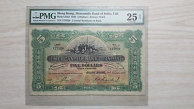 1941 Mercantile Bank of India $5 banknote  PMG VF 25