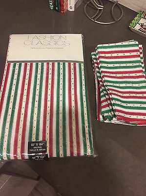 Red & Green Striped Christmas Linens