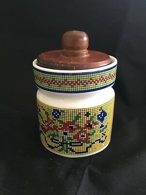 Vintage Mid Century Fred Press Design Preserve Jar With Wooden Lid & Spreader