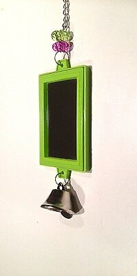 BIRDTALK BIRD TOYS BUDGIE SQUARE MIRROR GREEN a free foot toy orders over $25