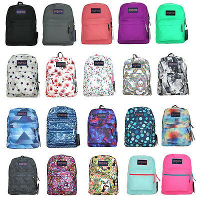 Authentic Jansport Superbreak Backpack Black Grey Blue Green Pink Purple Coral