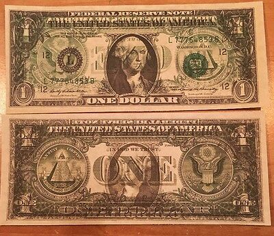 Copy Reproduction 1969 $1 US Currency Paper Money Reverse Printing Error Ghost