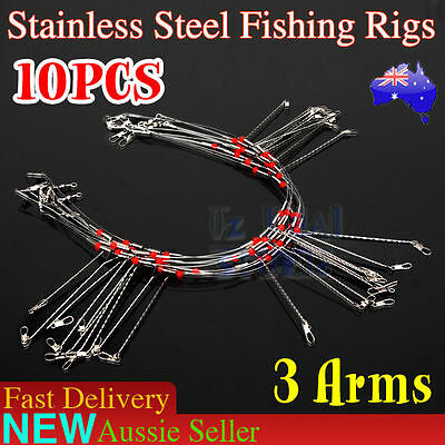 10X Fishing Rigs 3 Arm Stainless Steel Swivel Wire Leader Fishing Lure Tackle