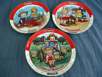 3 Campbells Soup Kids Danbury Mint Collector Plates Tomato Mushroom Vegetable