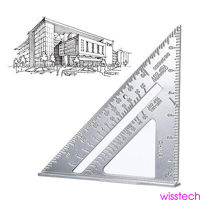 """7"""" Square Carpenters Measuring Ruler Layout Triangle Angle Protractor Tool Guide"""