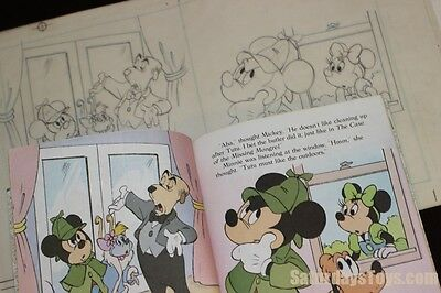 1985 Walt Disney Golden Book ORIGINAL PENCIL ART Detective Mickey Mouse pg 10 11