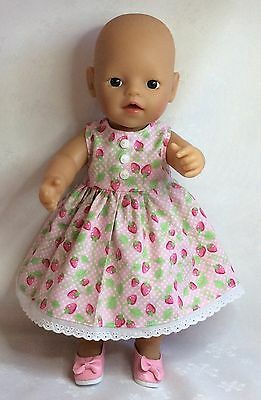 "Handmade Dolls Clothes To Fit 13""  Little Baby Born -  Pink Strawberry Dress"