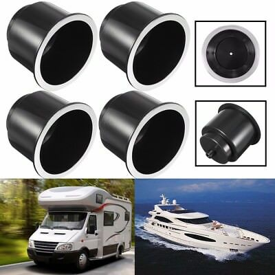 4x Universal ABS Black Plastic Cup Drink Holder For Marine Boat Truck Camper RV